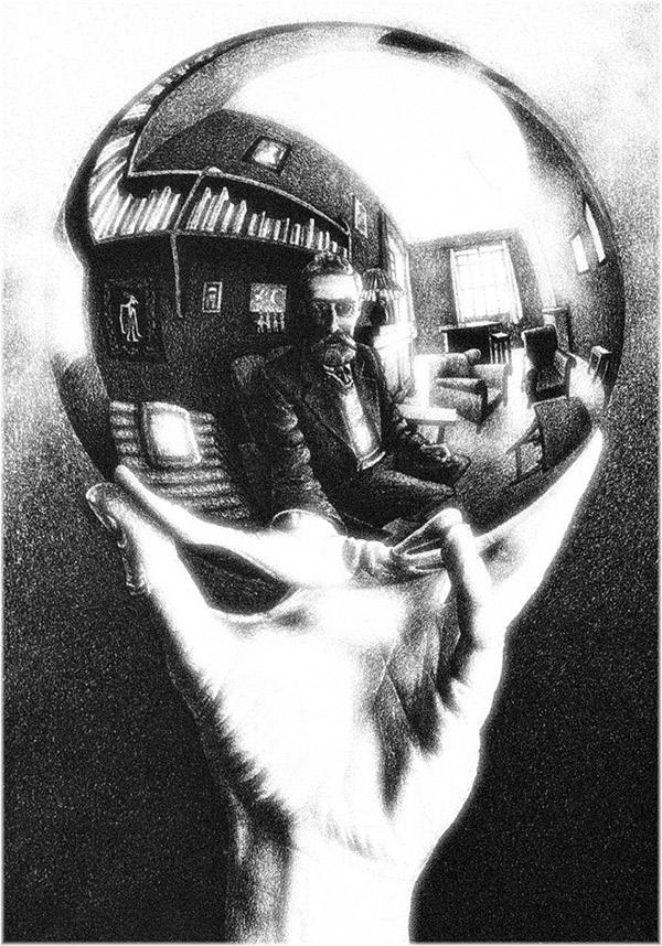 Escher. Mano con sfera riflettente